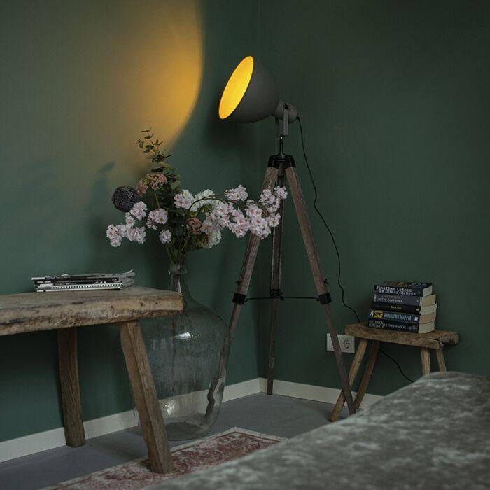Przemysłowa-lampa-podłogowa-na-drewnianym-statywie-z-szarym-abażurem---Laos