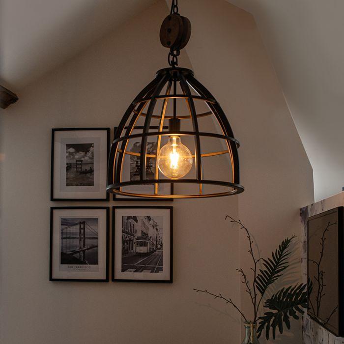 Industrialna-lampa-wisząca-okrągła-czarna-stal-48cm---Arthur