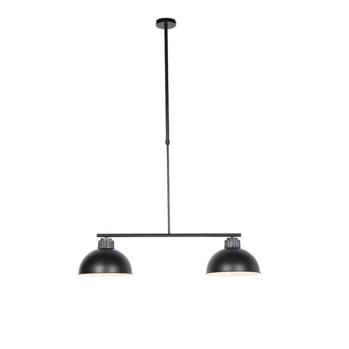 Industrialna-lampa-wisząca-czarno-srebrna-2-źródła-światła---Frodo