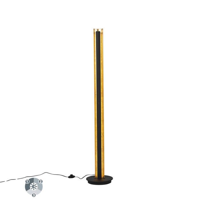 Lampa-stojąca-czarna-ze-złotem,-w-tym-ściemnialna-dioda-LED-3-stopnie---Malta