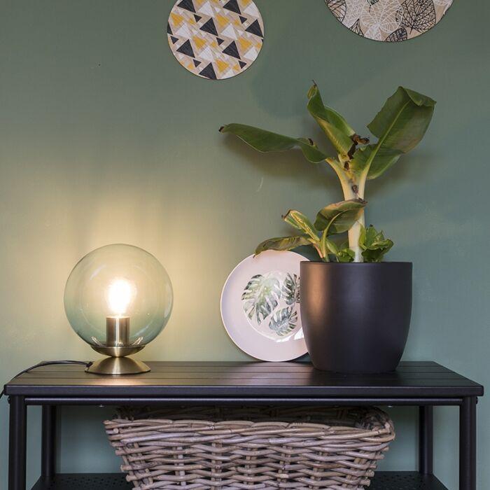 Lampa-stołowa-art-deco-mosiądz-niebieskie-szkło---Pallon