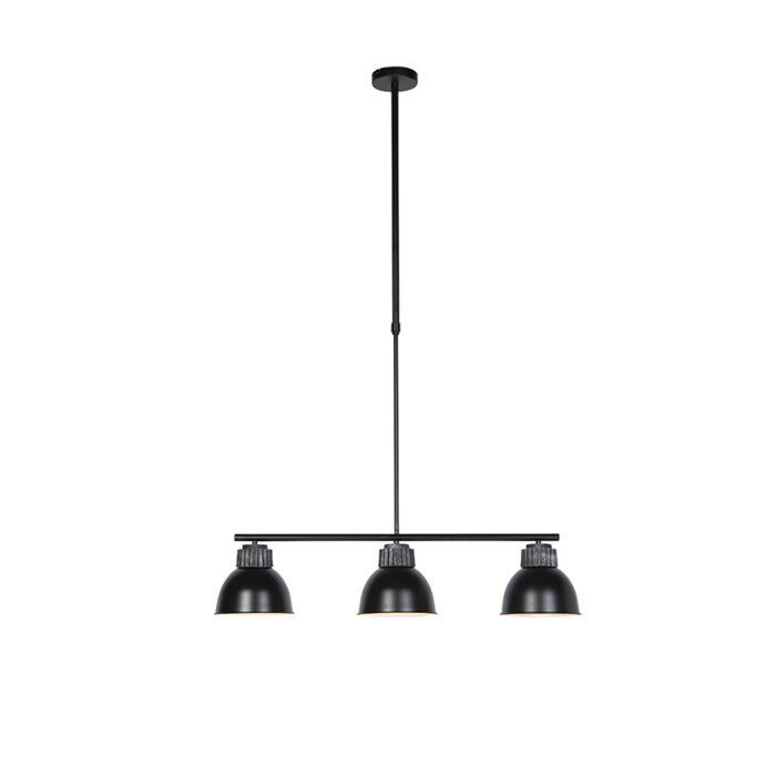 Industrialna-lampa-wisząca-czarno-srebrna-3-źródła-światła---Frodo