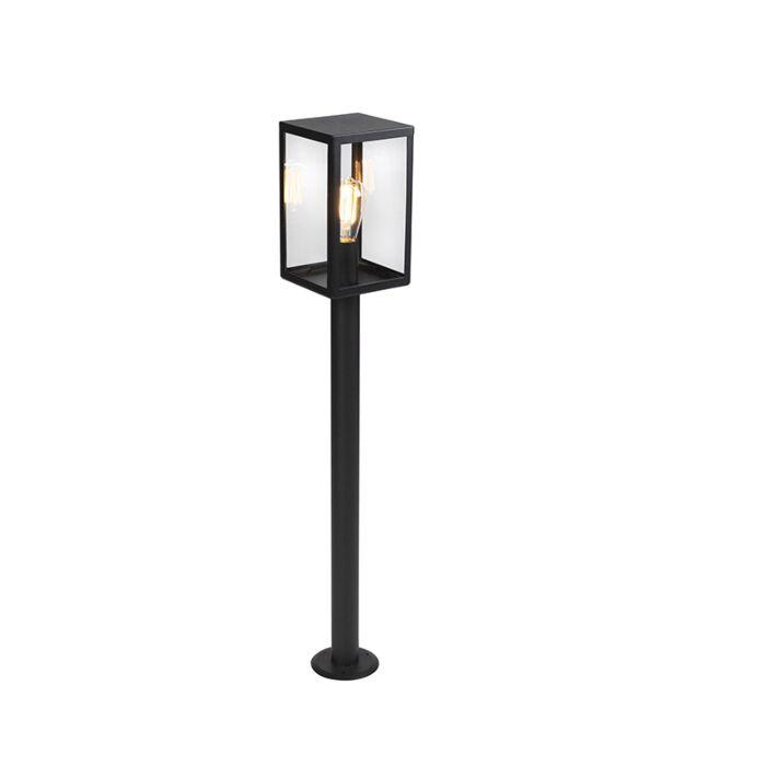 Nowoczesna-zewnętrzna-lampa-stojąca-czarna-szkło-100.5cm---Rotterdam