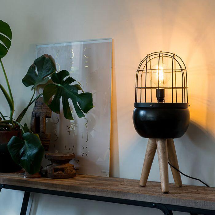 Nowoczesna-lampa-stołowa-czarna-na-drewnianym-statywie---Birds
