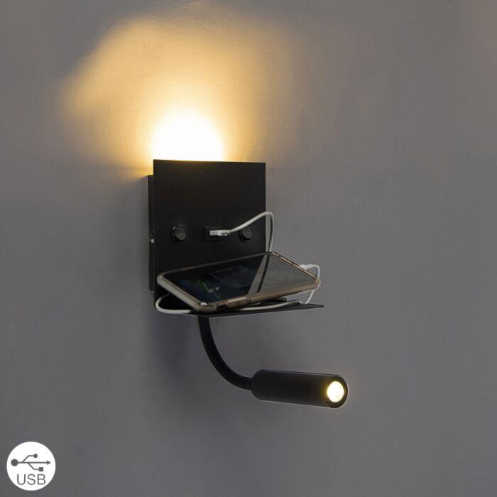 Nowoczesny-kinkiet-USB-czarny-z-ramieniem-bez-cienia---Duppio