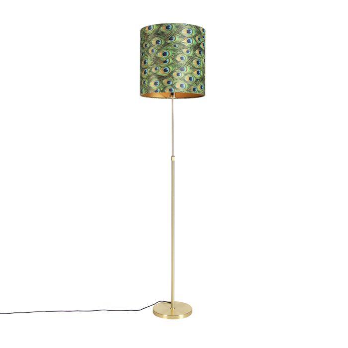 Lampa-podłogowa-regulowana-złota/mosiądz-klosz-welurowy-pawie-oczka-40cm---Parte