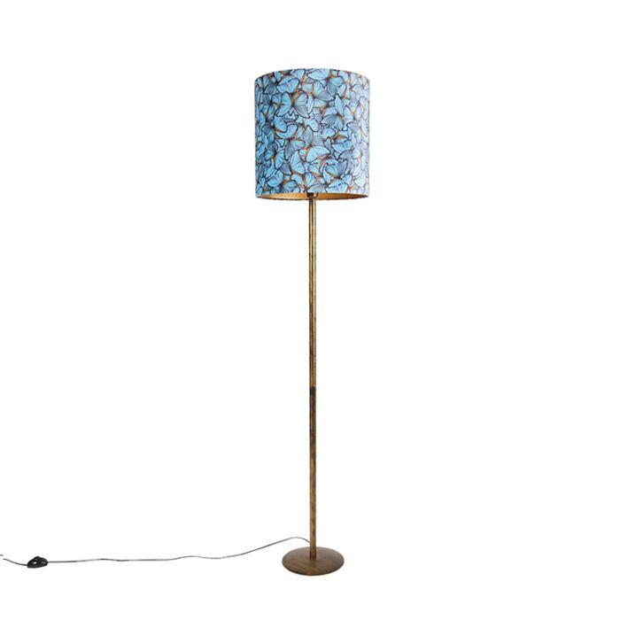 Lampa-podłogowa-złota-klosz-welurowy-motyle-40cm---Simplo