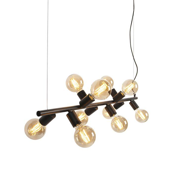 Skandynawska-lampa-wisząca-czarna-10-punktowa---Facil-Tube
