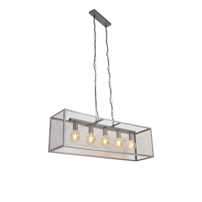 Przemysłowa-lampa-wisząca-antyczne-srebro-5-źródeł-światła---Cage-Robusto