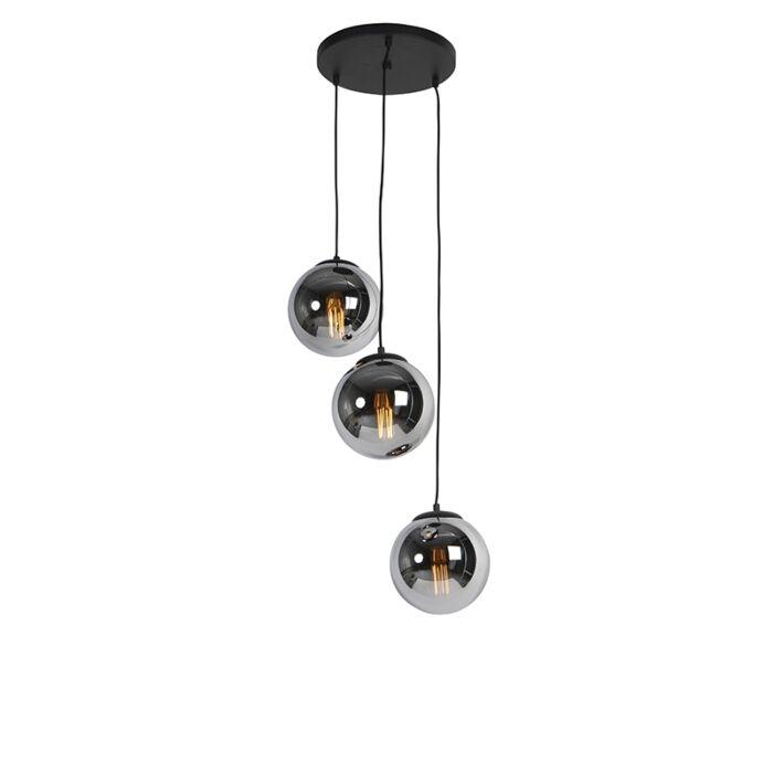 Lampa-wisząca-art-deco-czarna-okrągła-3-źródła-światła-przydymione-szkło---Pallon