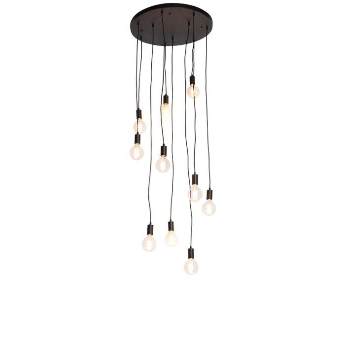 Nowoczesna-lampa-wisząca-czarna-60cm-10-źródeł-światła---Facil