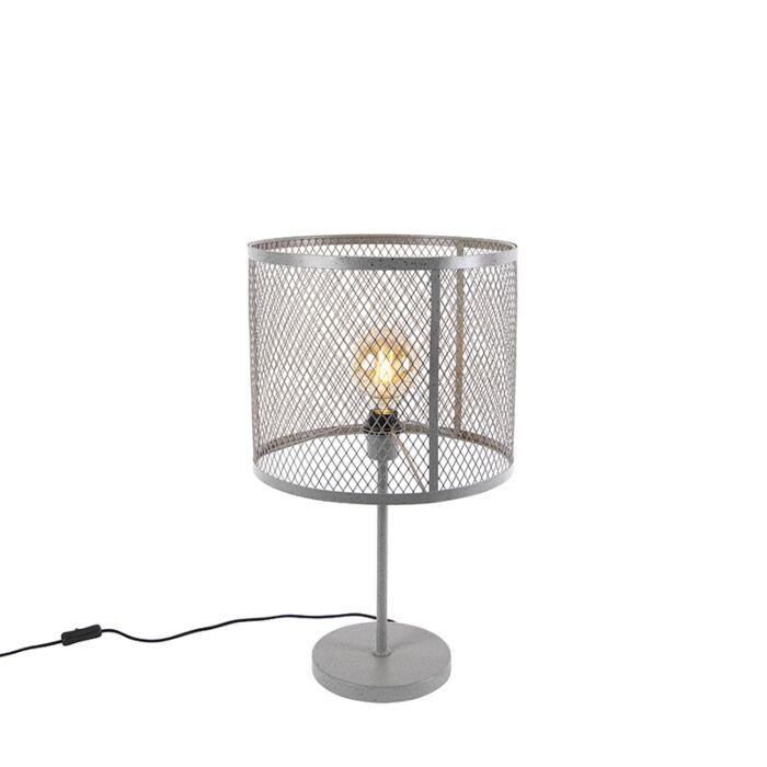 Przemysłowa-okrągła-lampa-stołowa-antyczne-srebro---Cage-Robusto