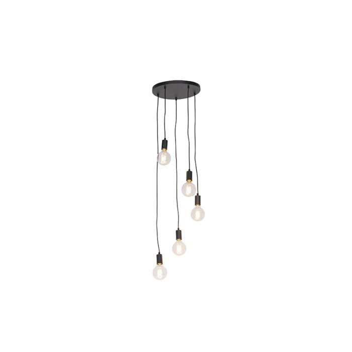 Nowoczesna-lampa-wisząca-czarna-35cm-5-źródeł-światła---Facil