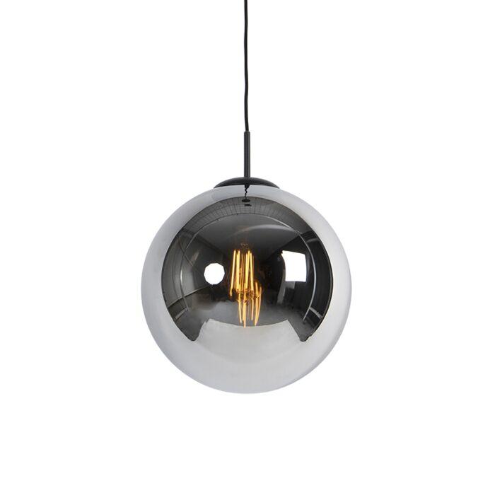 Lampa-wisząca-art-deco-czarna-przydymione-szkło---Pallon