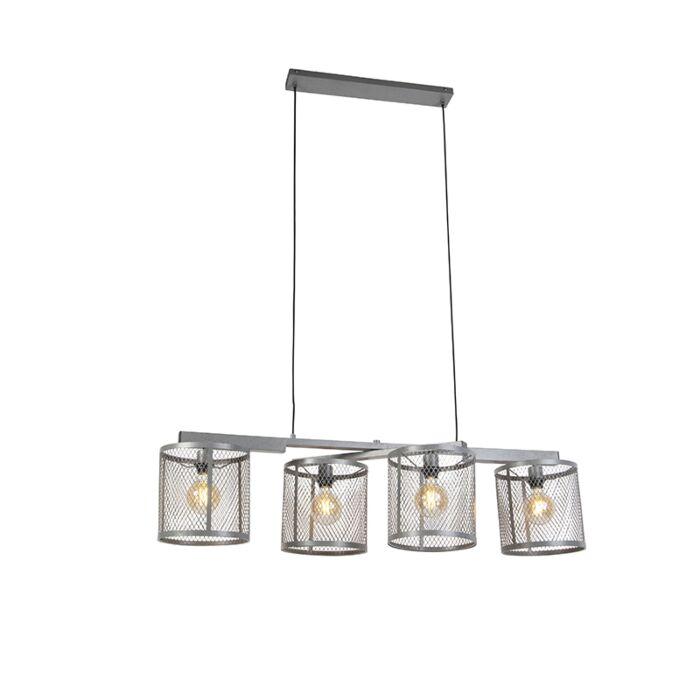 Przemysłowa-lampa-wisząca-antyczne-srebro-4-źródła-światła---Cage-Robusto