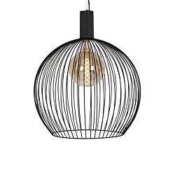Nowoczesna lampa wisząca pierścień czarna 60 cm LED