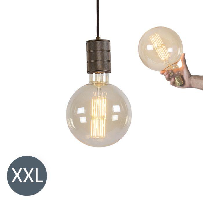 Lampa-wisząca-Megaglobe-brązowa-ze-ściemnianą-żarówką-LED