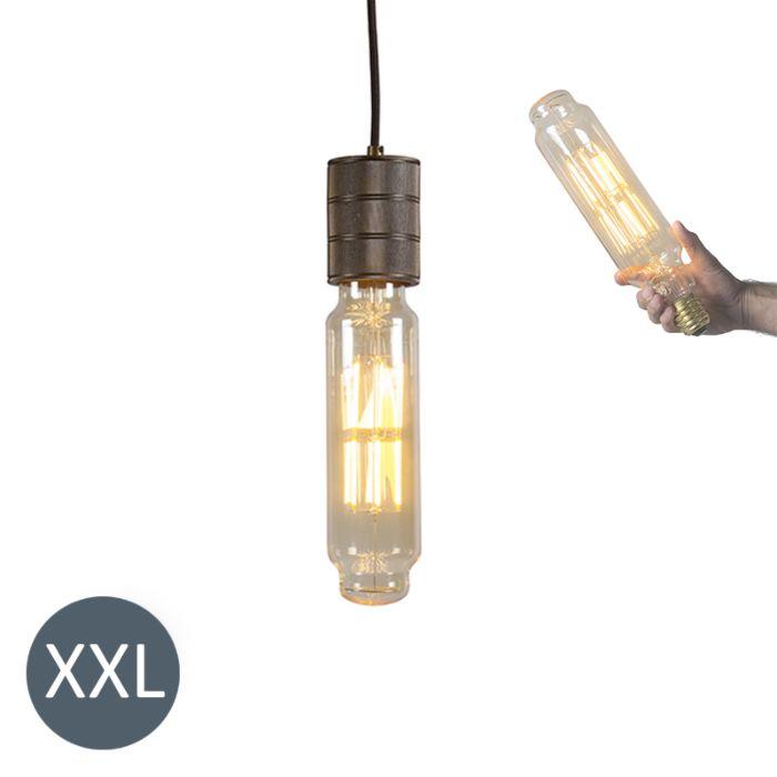Lampa-wisząca-Tower-brązowa-ze-ściemnianą-żarówką-LED