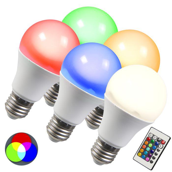Zestaw-5-żarówek-LED-RGB-E27-10W-+-ekstra-ciepłobiała