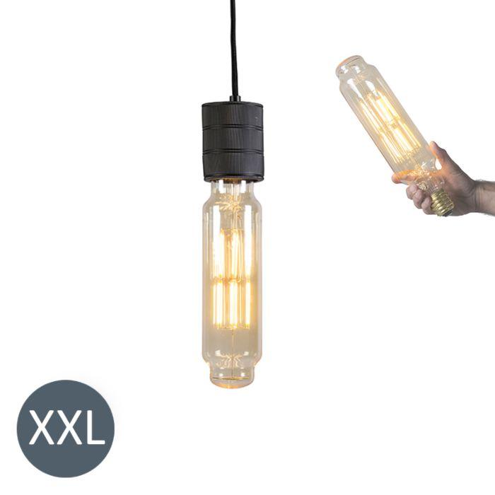 Lampa-wisząca-Tower-czarna-ze-ściemnianą-żarówką-LED