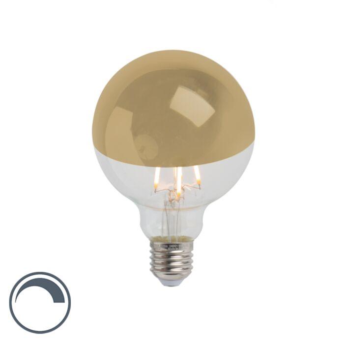 E27-ściemniana-głowica-żarówki-LED-z-lustrem-G95-złota-280lm-2300K