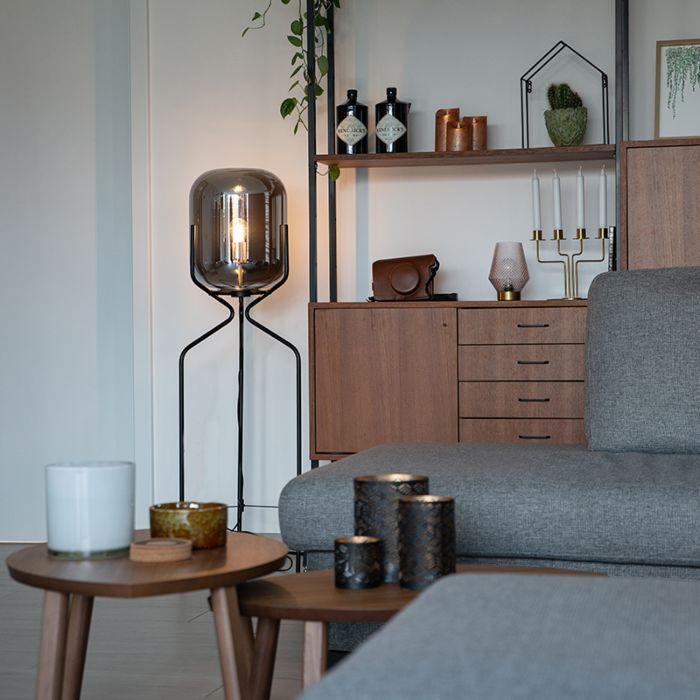 Designerska-lampa-podłogowa-czarna-przydymione-szkło---Bliss