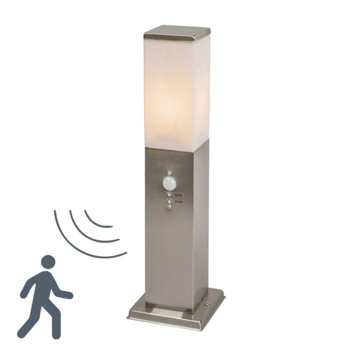 Zewnętrzna-lampa-stojąca-Malios-stal-45-z-czujnikiem-ruchu-na-podczerwień