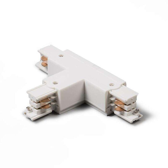 Łącznik-typu-T-dla-szyny-3-fazowej,-uziemienie-z-lewej-B,-biały