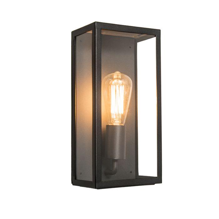 Nowoczesny-prostokątny-kinkiet-zewnętrzny-czarny-szkło-IP44---Rotterdam
