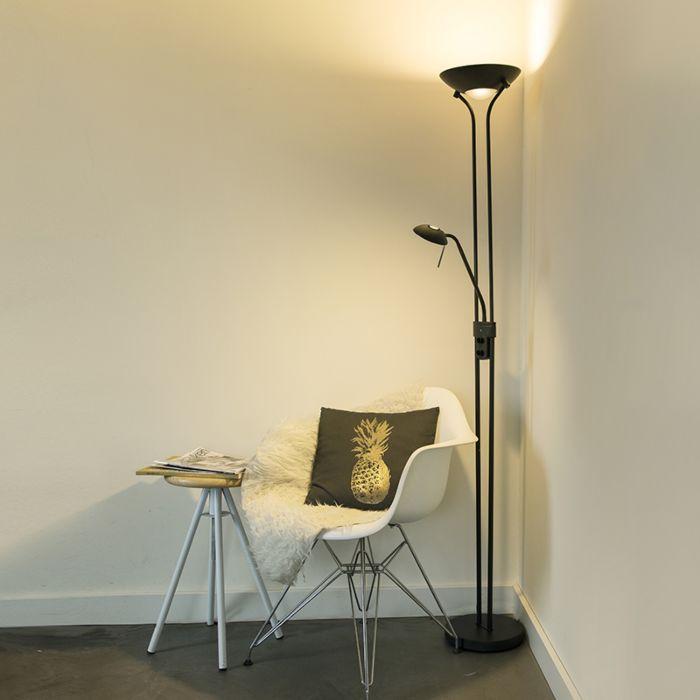 Nowoczesna-lampa-stojąca-czarna-z-lampką-do-czytania,-w-tym-LED-i-ściemniacz---Diva-2