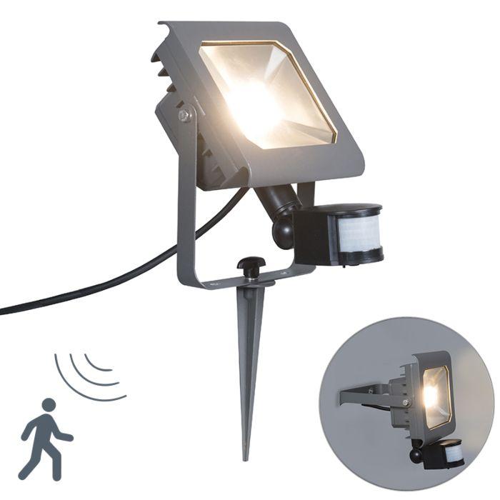 Naświetlacz-LED-Radius-2-30W-z-czujnikiem-na-podczerwień,-ciemnoszary-z-klinem-ziemnym