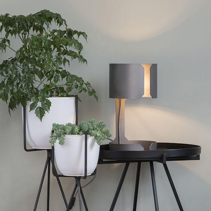 Designerska-lampa-stołowa-stal-matowa---Walc