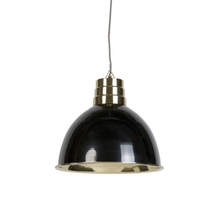 Lampa-wisząca-art-deco-czarna-mosiądz---Bombay