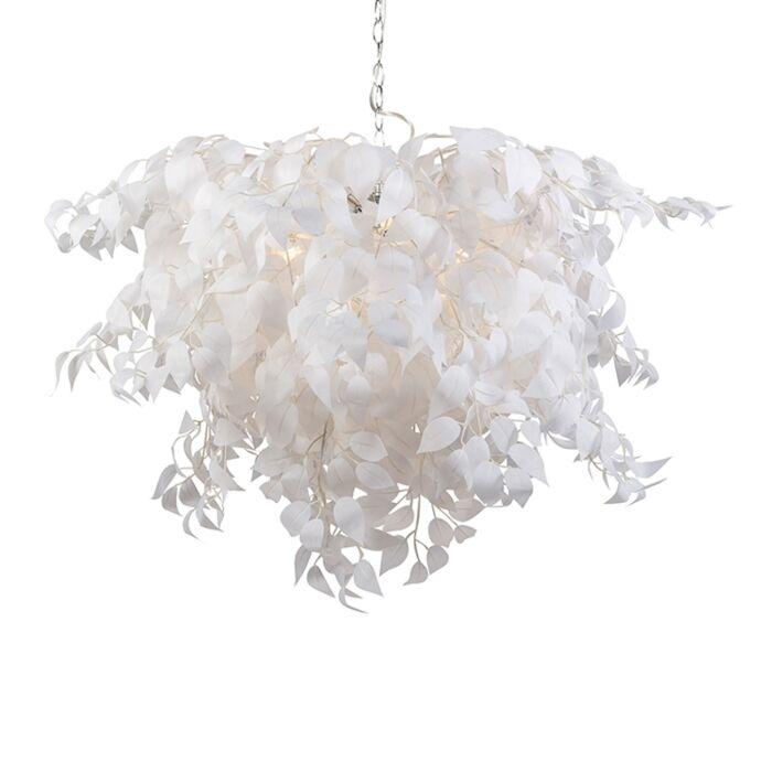 Romantyczna-lampa-wisząca-biała-z-liśćmi---Feder