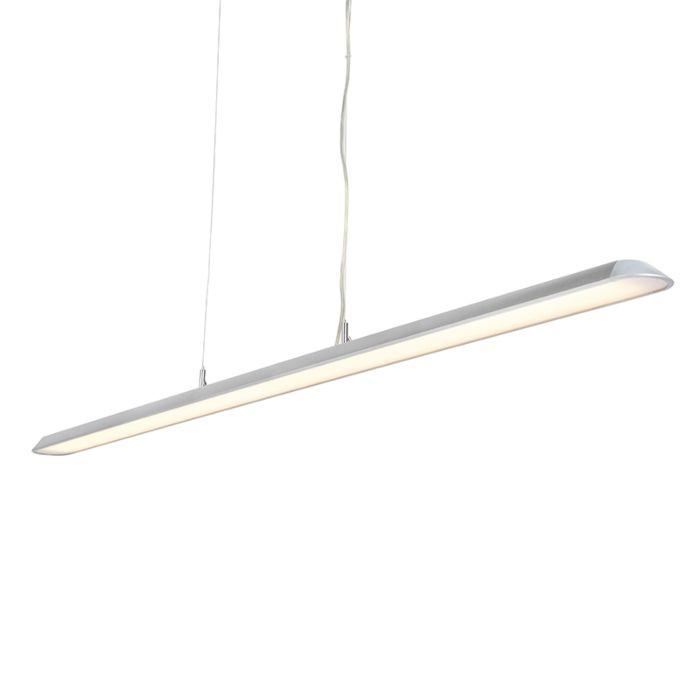 Nowoczesna podłużna lampa wisząca srebrna 160cm zawiera LED Duct S