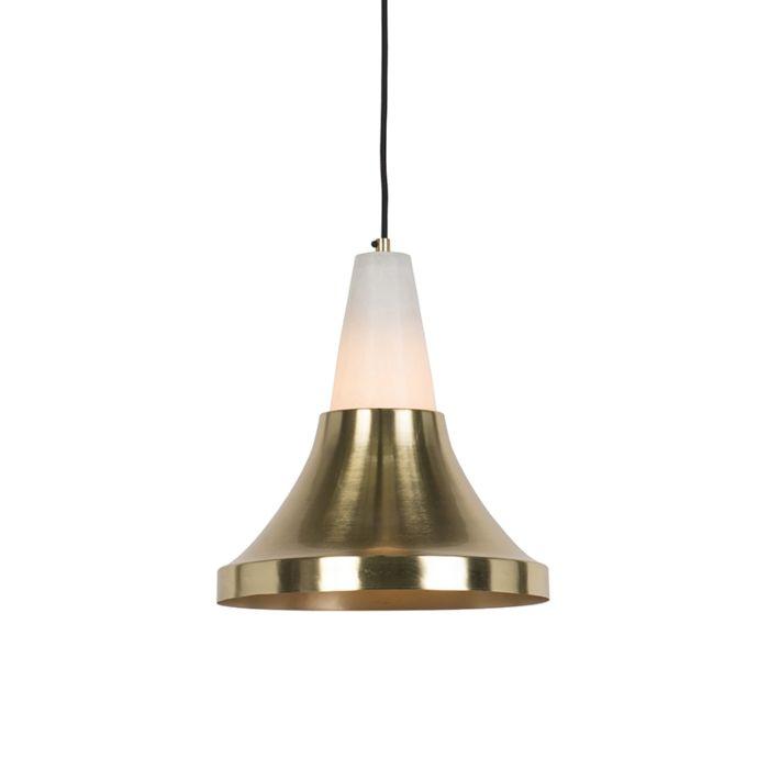 Nowoczesna-lampa-wisząca-mosiądz-i-marmur---Albasta-Trumpet