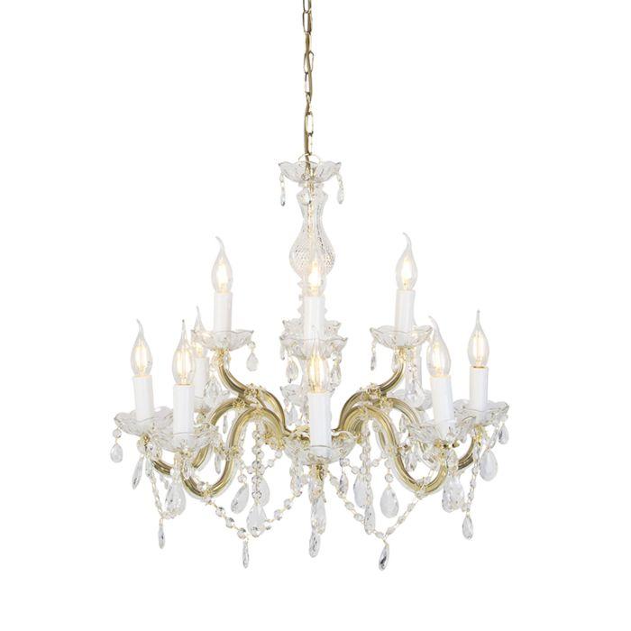 Vintage-żyrandol-ze-szklanymi-kryształkami-ramiona-S-12-punktów-świetlnych---Marie-Theresa