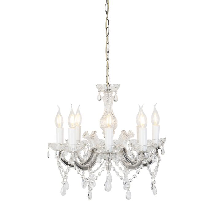 Vintage-żyrandol-ze-szklanymi-kryształkami-ramiona-C-8-punktów-świetlnych---Marie-Theresa