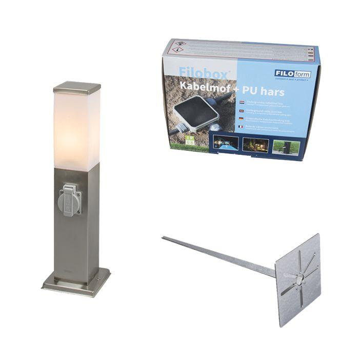 Zewnętrzna-lampa-stojąca-Malios-stal-45-z-gniazdem-elektrycznym-z-klinem-ziemnym-i-mufą-kablową