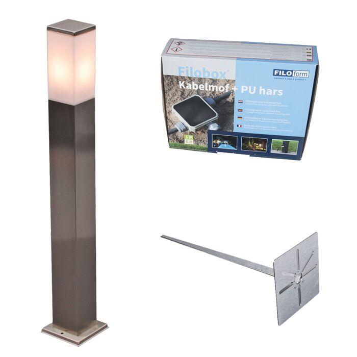 Zewnętrzna-lampa-stojąca-Malios-stal-80-z-klinem-ziemnym-i-mufą-kablową