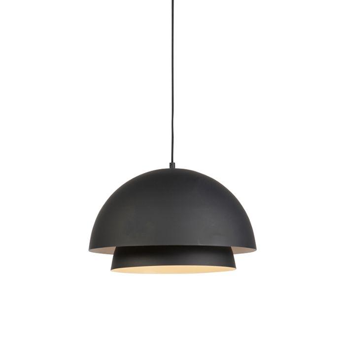 Nowoczesna-lampa-wisząca-okrągła-czarna-z-białym-2-warstwy---Claudius