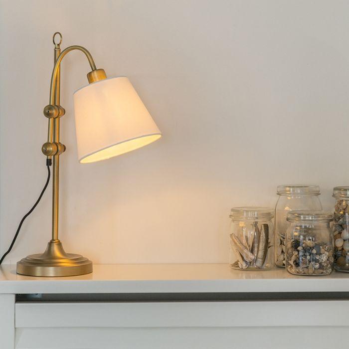 Klasyczna-lampa-stołowa-brąz-z-białym-kloszem---Ashley