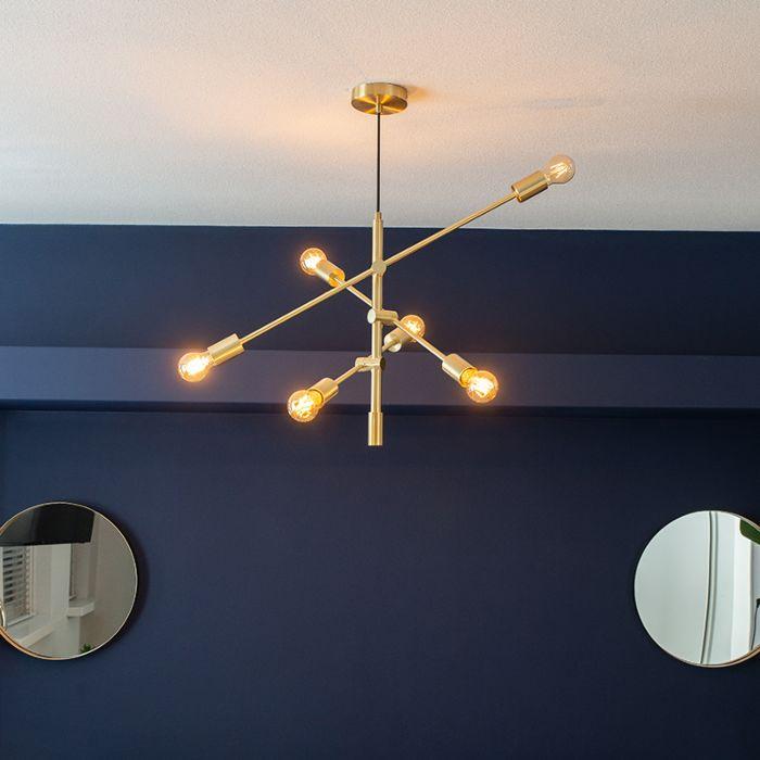 Lampa wisząca w stylu art deco matowy mosiądz 6 lamp Sydney