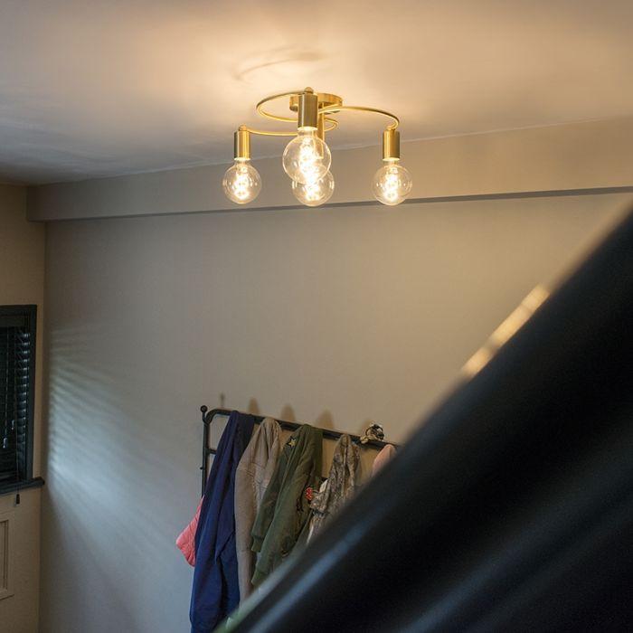 Nowoczesny-plafon-złoty-4-źródła-światła---Facil