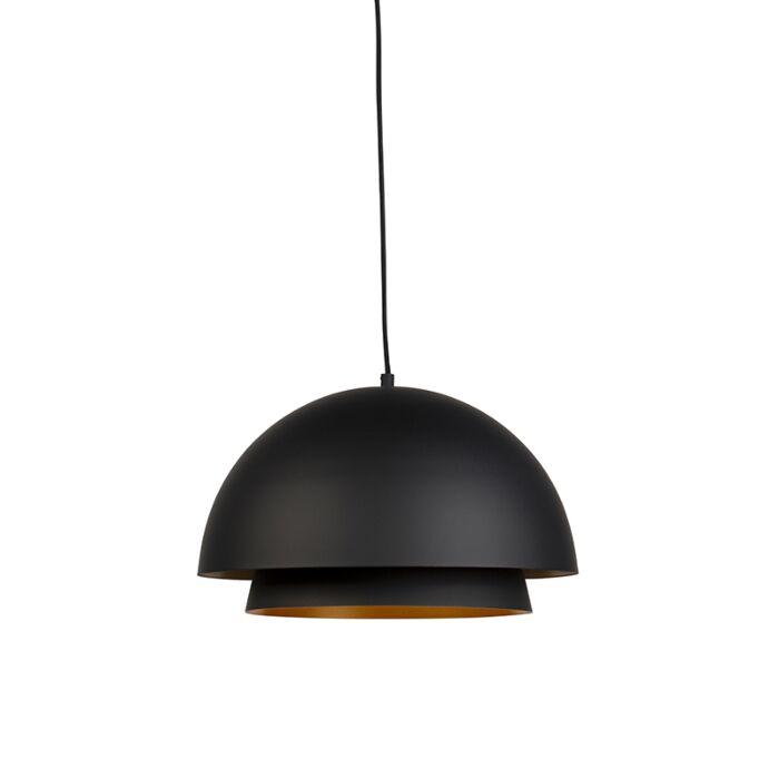 Nowoczesna-lampa-wisząca-okrągła-czarna-ze-złotym-2-warstwy---Claudius