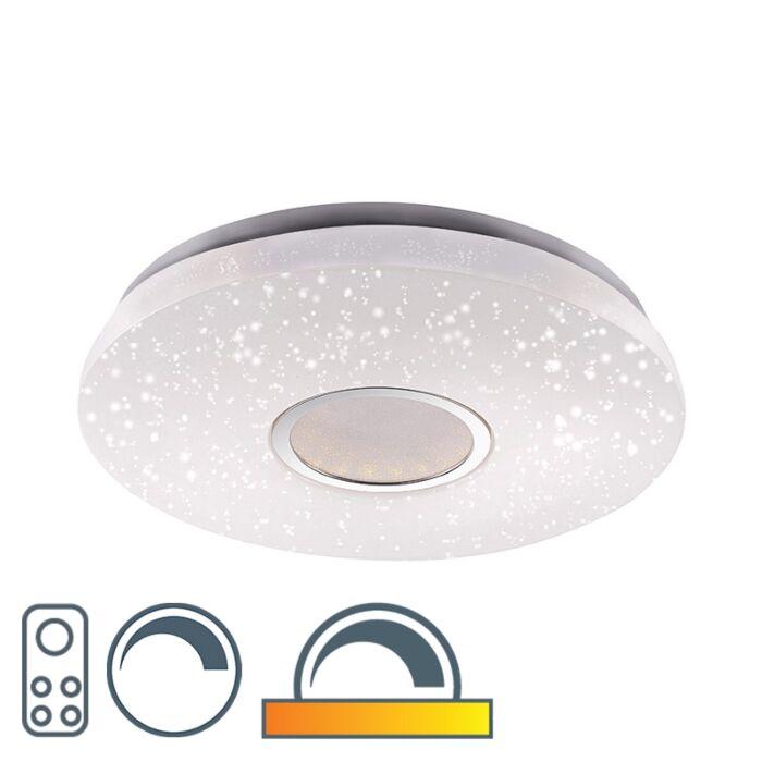 Nowoczesny-okrągły-plafon-biały-gwieździste-niebo-41,6cm-zawiera-LED-22W-1350-lumenów---Jona