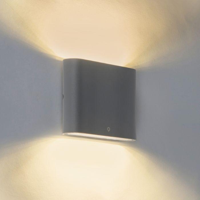 Nowoczesny-kinkiet-zewnętrzny-ciemnoszary-11.5cm-zawiera-LED---Batt