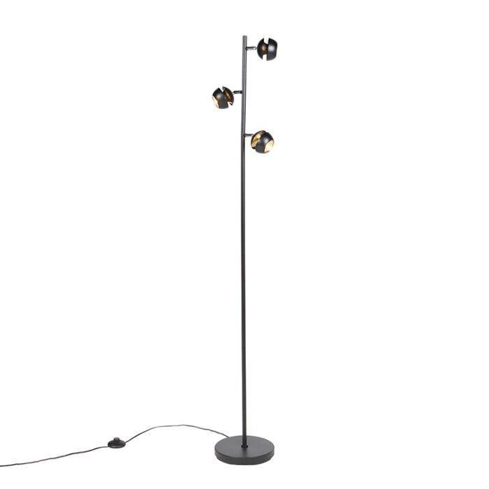 Nowoczesna-lampa-podłogowa-czarno-złota-3-źródła-światła---Buell-Deluxe