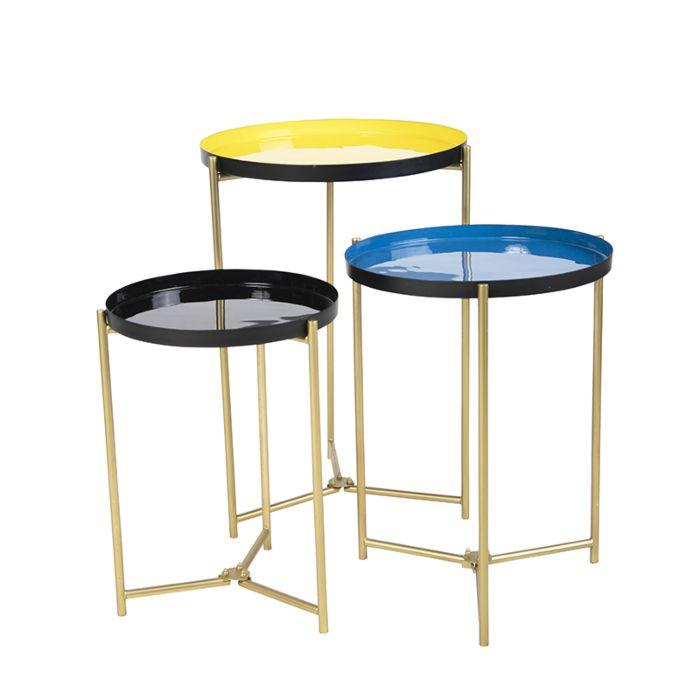 Zestaw-3-stolików-żółty,-niebieski-i-czarny-w-3-rozmiarach---Enamel