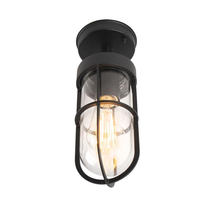 Zewnętrzna-lampa-sufitowa-Country-czarna-ze-szkłem---Elza